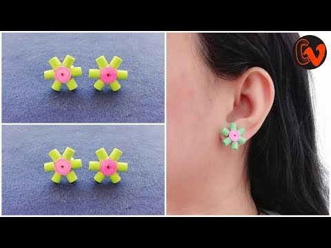 How To Make Quilling Stud Earrings / Tutorial / Paper Quilling Earrings / Design 32