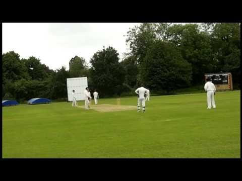Chad Batty the South African Pro bowling vs Ramsey Cricket Club England