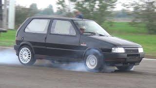 CRAZY Fiat Uno Turbo w/ Anti-Lag System - Burnouts & 1/4 Mile Accelerations!