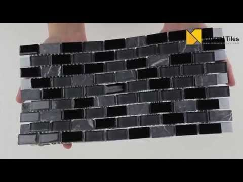 Mini Glass Subway Mosaic Tile Black - 120TASTSGL12S12