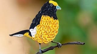 ☑️ Quilling birds ❤ How to make Beautiful Yellow quilled Bird  ❤