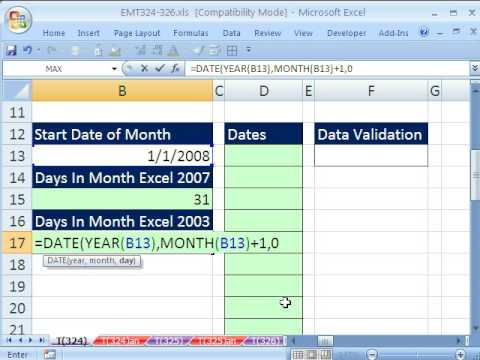Excel Magic Trick 324: Dynamic Data Validation List of Dates