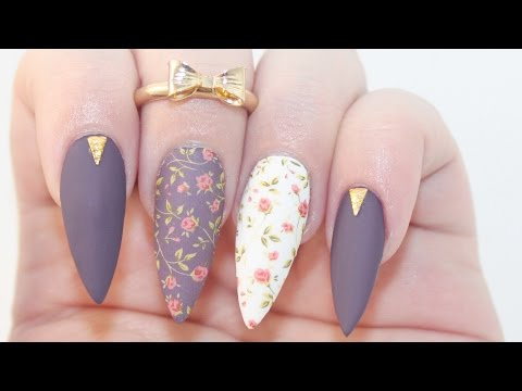HOW TO: Matte Dark Floral Acrylic Nails
