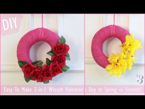 $3 Valentine's Day Wreath DIY | 2-in-1| Easily Converts for Spring! | Supplies From DOLLAR TREE