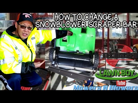HOW TO FIX REPLACE REPAIR INSTALL A SNOWBLOWER SNOW BLOWER THROWER SCRAPER BAR ON A LAWNBOY 320R