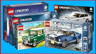 COMPILATION LEGO Creator Vehicles Ford Mustang, Volkswagen T1, MINI Cooper, Ferrari F40 - UNBOXING