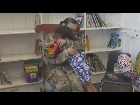 Army mom surprises daughter at school after 8 months overseas