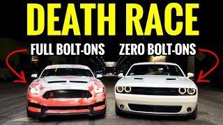 BOLT ON Mustang GT 5.0 vs STOCK Challenger RT | STREET RACE!