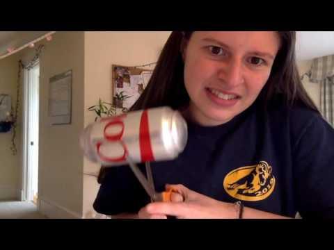 Giant Frozen Coke Soda Explosion - Cutting open can of frozen soda