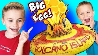 Giant TOY VOLCANO Egg Full of Surprises! We do SCIENCE with Kinetic Sand SCIENCE