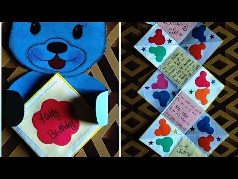 Birthday card//twist up card //teddy theam card//diy