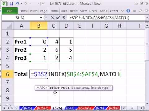Excel Magic Trick 676: Defined Name Dynamic Range Formula (column number varies) INDEX Function