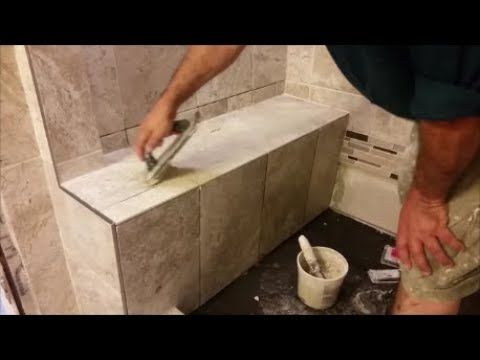 How To Grout A Shower Bench -Part 1- Grout The Horizontal Area - D.I.Y