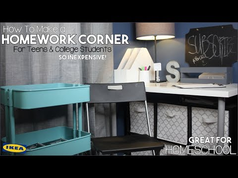 DIY Homework Corner Transformation For Teens & College Students (Great For Homeschool)