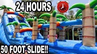 24 HOUR CHALLENGE ON 50ft SLIP N SLIDE!! (Day 1 Of 7) | JOOGSQUAD PPJT