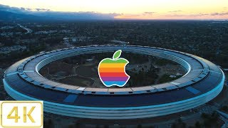 APPLE PARK: Mid-June, 2017 Sunset Aerial Tour in 4K