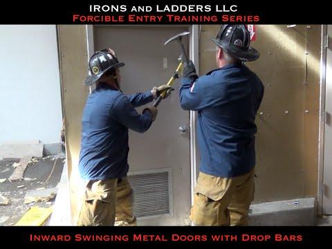 Inward Swinging Metal Door w/ Drop Bars - IRONS and LADDERS