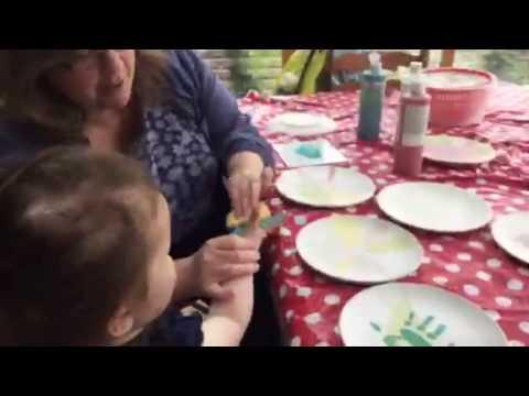 Adding a hand print to splatter plates