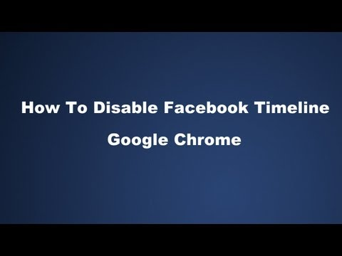 How to Disable Facebook Timeline In Google Chrome