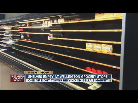 Shelves empty at Wellington Grocery store