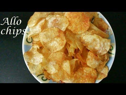 How to make crispy allo chips    potato chips recipe in telugu