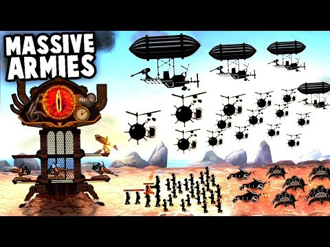 SteamPunk FORTRESS vs MASSIVE ARMY & Zeppelin AIRSHIPS! (SteamPunk Tower 2 Gameplay)