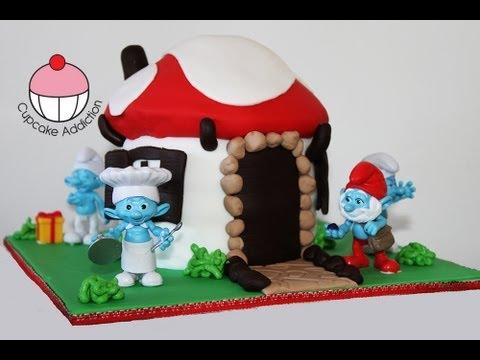 Smurf Cake! Make a Smurfs 2 Smurf Village Cake - A Cupcake Addiction How To Tutorial