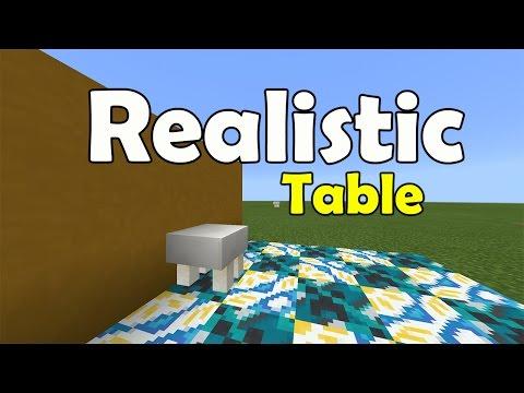 REALISTIC TABLE !!! No Mod, No Addon, No Commands   Minecraft PE (Pocket Edition) MCPE Furniture