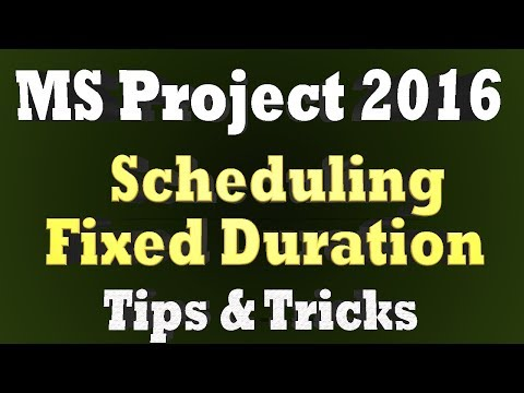 Project Scheduling - Maintain Fixed Duration Task and Total Task Work - Ms Project 2016 Tips