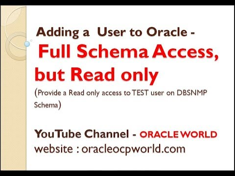 Adding a User to Oracle - Full Schema Access, But Read only