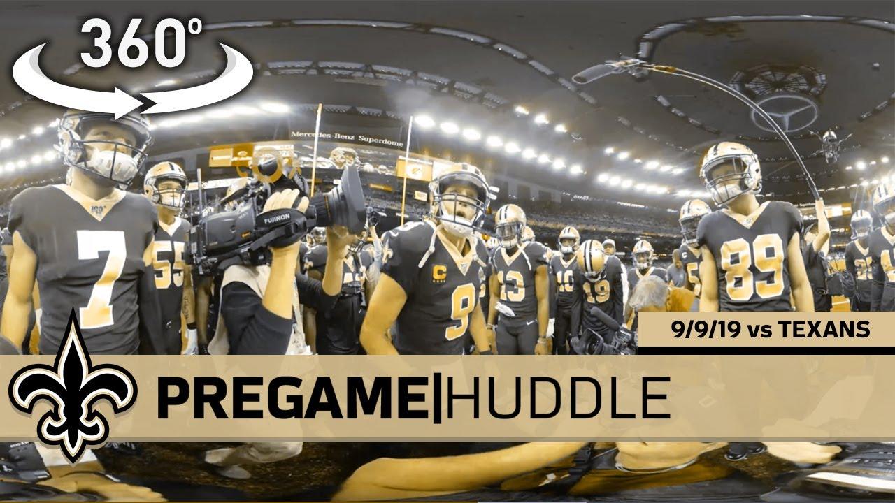360° View of Drew Brees, Saints Pregame Huddle - Week 1 vs Texans | New Orleans Saints