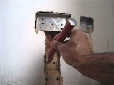 How to fit a flush double metal back box and double socket into a solid brick wall