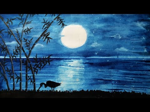 How to draw Scenery of Moonlight Night.Step by step(easy draw)