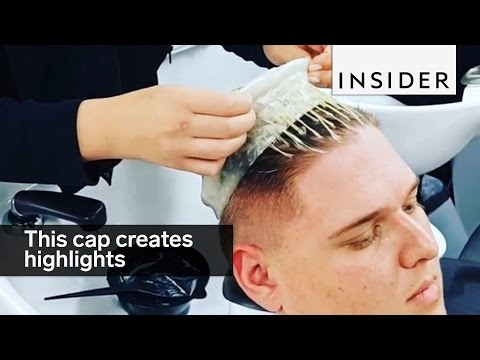 This cap highlighting technique creates highlights for shorter hair