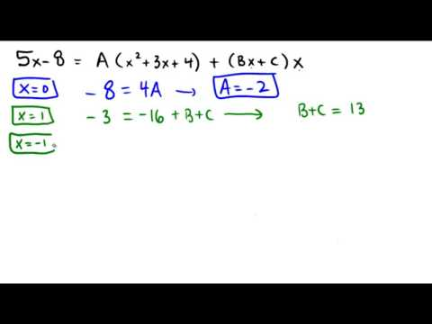 Finding the partial fraction decomposition, irreducible quadratic factor