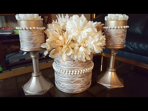 Upcycled Candle Holders Centerpiece - Dollar Tree DIY