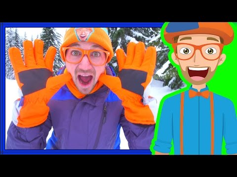Snowmobile in the Snow with Blippi   Winter Outfit for Kids
