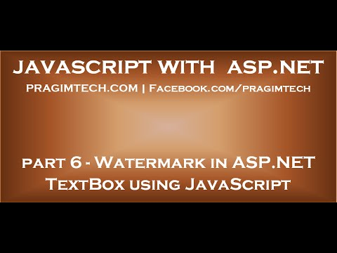 Watermark in ASP NET TextBox using JavaScript