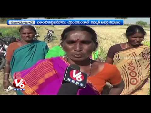 Farmers Fire On Govt Over Installation Of Electrical Towers In Farms | Nizamabad | V6 News