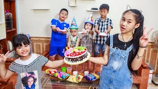 Kids Go To School | Day Birthday Of Chuns Children Make a Birthday Cake Color Rainbow