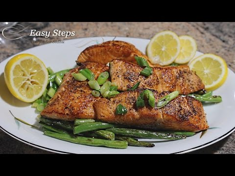Pan Fried Salmon with Green Beans | Spring Beans | String Beans | Snap Beans Recipe