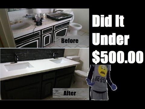 DIY | Bathroom Quartz Counter-top | Square Undermount Sink | BackSplash | Cabinet [NEW]