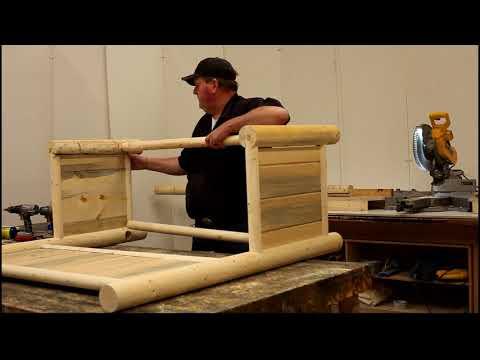 DIY Log worx - Hand built outdoor mud kitchen - woodworking log furniture shop