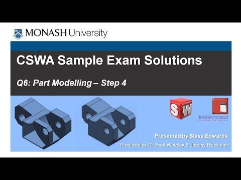 SolidWorks CSWA Practice Exam Solutions Part 6: Q6 Part Modelling p4
