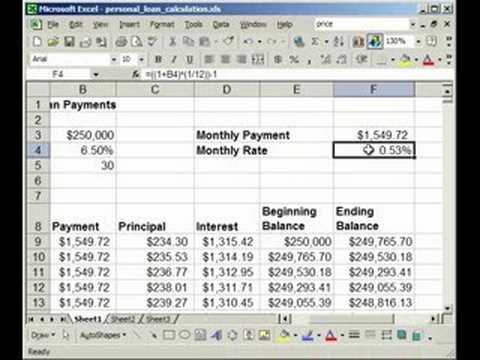 How to make a Fixed Rate Loan/Mortgage Calculator in Excel