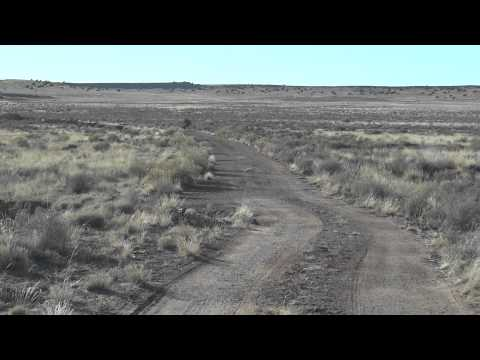Driving on old Route 66 from Navajo, Arizona towards painted desert trading post