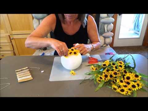 DIY Sunflower Kissing Ball Tutorial