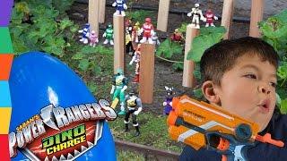 Nerf Battle 2: Power Rangers Toys -OPERATION GARDEN- Power Rangers Dino Super Charge Surprise Egg