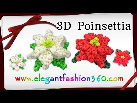 Rainbow Loom Poinsettia 3D Charm/Holiday/Christmas Flower/Ornament - How to Loom Band Tutorial