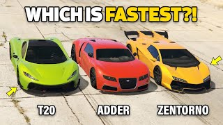GTA 5 ONLINE - ADDER VS T20 VS ZENTORNO (WHICH IS FASTEST?)